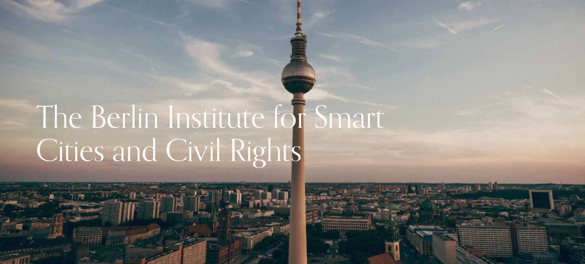Berlin Institute header over a backdrop of the Berlin skyline with the TV tower front and center